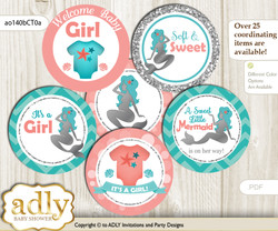 Baby Shower Mermaid Girl Cupcake Toppers Printable File for Little Mermaid and Mommy-to-be, favor tags, circle toppers, Coral, Teal Silver