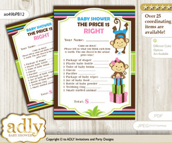 Printable Monkeys Girl Boy Price is Right Game Card for Baby Girl Boy Shower, Pink Blue Green, Twins