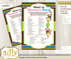 Monkeys Girl Boy What is in Mommy's Purse, Baby Shower Purse Game Printable Card , Pink Blue Green,  Twins