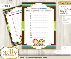 Monkeys Girl Boy Memory Game Card for Baby Shower, Printable Guess Card, Pink Blue Green, Twins