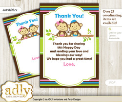 Monkeys  Girl Boy Thank you Cards for a Baby Monkeys Shower or Birthday DIY Pink Blue Green, Twins