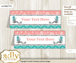 DIY Text Editable Printable Mermaid Girl Buffet Tags or Food Tent Labels  for a Baby Shower or Birthday , Teal Silver, Coral