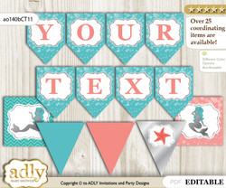 DIY Personalizable Mermaid Girl Printable Banner for Baby Shower, Teal Silver, Coral