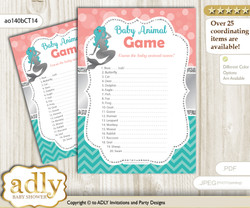 Printable Mermaid Girl Baby Animal Game, Guess Names of Baby Animals Printable for Baby Girl Shower, Teal Silver, Coral