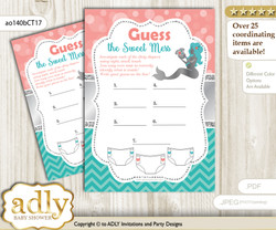 Mermaid Girl Dirty Diaper Game or Guess Sweet Mess Game for a Baby Shower Teal Silver, Coral