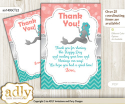 Mermaid  Girl Thank you Cards for a Baby Mermaid Shower or Birthday DIY Teal Silver, Coral