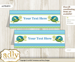 DIY Text Editable Printable Turtle Boy Buffet Tags or Food Tent Labels  for a Baby Shower or Birthday , Sea, Reef