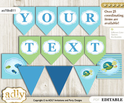 DIY Personalizable Turtle Boy Printable Banner for Baby Shower, Sea, Reef