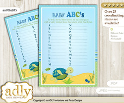 Turtle Boy Baby ABC's Game, guess Animals Printable Card for Baby Boy Shower DIY – Reef