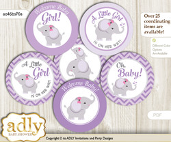Baby Shower Elephant Girl Cupcake Toppers Printable File for Little Elephant and Mommy-to-be, favor tags, circle toppers, Purple, Gray N
