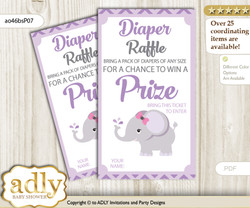 Elephant Girl Diaper Raffle Printable Tickets for Baby Shower, Gray, Purple