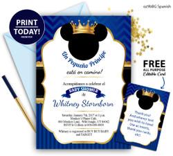 Spanish Pirnce Mikcey baby shower invitation gold crown Royal blue invitation