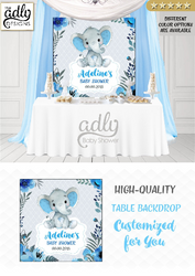 Peanut blue and gray elephant Backdrop, baby shower candy Table Digital Backdrop, Birthday Party, Gray Lavender Elephant, Flower, Floral 4x4 or 4wx6h