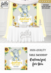 Peanut yellow and gray unisex elephant Backdrop, baby shower candy Table Digital Backdrop, Birthday Party, Gray Lavender Elephant, Flower, Floral 4x4 or 4wx6h