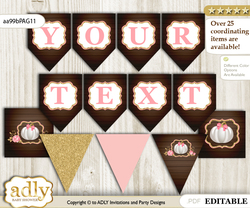 DIY Personalizable Pumpkin Girl Printable Banner for Baby Shower, Pink Gold, Fall
