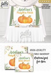 Pumpkin backdrop Patch Sign, Little Pumpkin Backdrop, orange floral fall baby shower candy Table Digital Backdrop, Fall Watercolor Birthday Party
