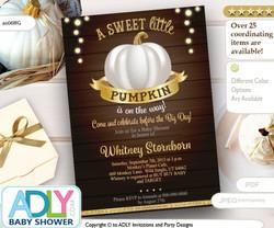 Pumpkin Invitation, Gray gold brown pumpkin invitation, halloween invitation Mommy to Be -Pumpkin Invite-Baby Shower