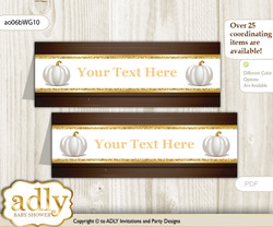 DIY Text Editable Printable Pumpkin Unisex Buffet Tags or Food Tent Labels  for a Baby Shower or Birthday , Rustic Gold, Fall
