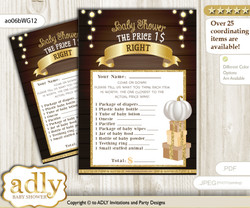 Printable Pumpkin Unisex Price is Right Game Card for Baby Unisex Shower, Rustic Gold, Fall