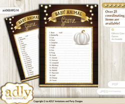 Printable Pumpkin Unisex Baby Animal Game, Guess Names of Baby Animals Printable for Baby Unisex Shower, Rustic Gold, Fall