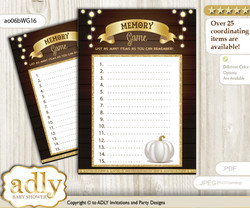 Pumpkin Unisex Memory Game Card for Baby Shower, Printable Guess Card, Rustic Gold, Fall
