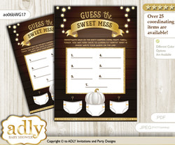 Pumpkin Unisex Dirty Diaper Game or Guess Sweet Mess Game for a Baby Shower Rustic Gold, Fall