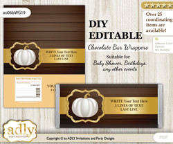 DIY Personalizable Pumpkin Unisex Chocolate Bar Candy Wrapper Label for Pumpkin  baby shower, birthday Rustic Gold , editable wrappers