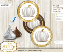 Printable  Pumpkin Unisex Candy Kisses for Baby Pumpkin Shower DIY Rustic Gold , Fall