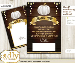 Pumpkin  Unisex Thank you Cards for a Baby Pumpkin Shower or Birthday DIY Rustic Gold, Fall