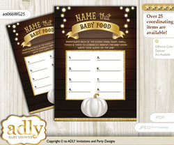 Pumpkin Unisex Guess Baby Food Game or Name That Baby Food Game for a Baby Shower, Rustic Gold Fall