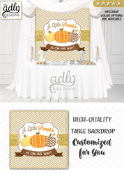 Fall Neutral Pumpkin, Gold Brown Orange Backdropbackdrop Patch Sign, Little Pumpkin Backdrop, gold floral fall baby shower candy Table Digital Backdrop, Fall Watercolor Birthday Party