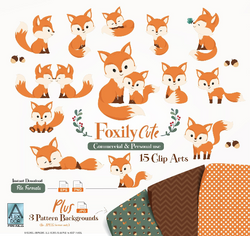 Fur Fox clip art, Cute Little Baby Fox, Mommy, woodland vector clipart png. Gender neutral, fall, seasonal clip art, commercial use,illustration
