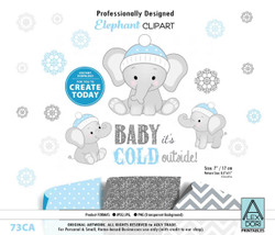 Winter Elephant Clip art, blue gray peanut clip art, png. Winter Baby Shower,birthday,gender neutral, instant download commercial use