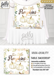 Little Pumpkins Table Backdrop, twins backdrop, doubles backdrop, two pumpkin, Gold floral fall baby shower Digital printable,Watercolor