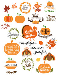 Fall Thanksgiving SVG Bundle Clipart - thanksgiving decor pumpkin svg - thanksgiving party family dinner - grateful - blessed happy