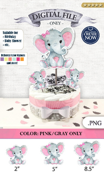 Peanut Elephant Centrepiece for Baby Girl Shower in Light Pink & Gray with Hair Bow PNG - 3 Sizes