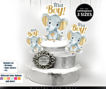 Gold and Gray Elephant Centrepiece-Cake Topper-Baby Shower-Party-Decoration-Gender Neutral