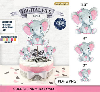 Peanut Elephant Centrepiece for Baby Girl Shower in Pink & Gray PDF and PNG Files - 3 Sizes