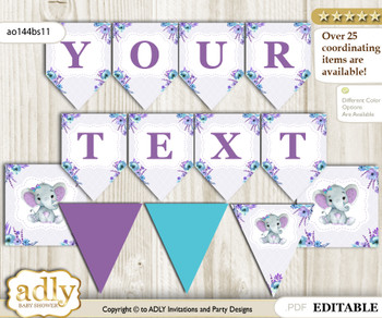 DIY Personalizable Elephant Girl Printable Banner for Baby Shower, Purple Teal, floral n