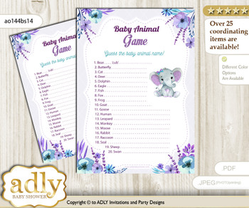Printable Elephant Girl Baby Animal Game, Guess Names of Baby Animals Printable for Baby Girl Shower, Purple Teal, floral n