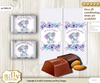 Elephant Girl Chocolate Nuggets Candy Wrapper Label for Baby Elephant Shower  Purple Teal , floral n