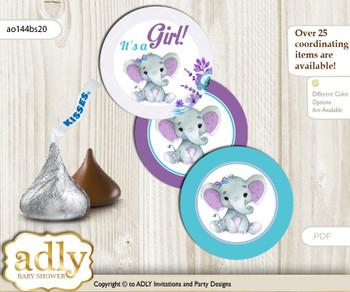 Printable  Elephant Girl Candy Kisses for Baby Elephant Shower DIY Purple Teal , floral n