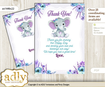 Elephant  Girl Thank you Cards for a Baby Elephant Shower or Birthday DIY Purple Teal, floral n