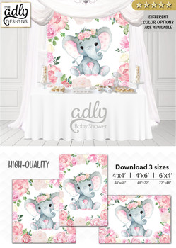 Girl Elephant Backdrop, for Girl Baby Shower candy table, Birthday Party, Blush Pink Gray Peanut, Floral, Flowers, Digital Backdrop 4x4, 4x6.