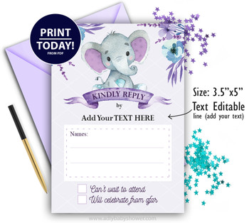 Girl Elephant RSVP Card for Baby Shower, Birthday. Response Card, Kindly reply, Printable digital, please reply Template. DIY text editable.
