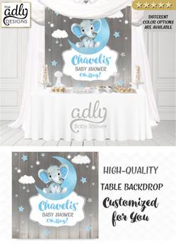 Boy Elephant Table Backdrop, Moon, Clouds, Stars Twinkle Little Baby Elephant desert table decor, back drop, watercolor cute elephant sign