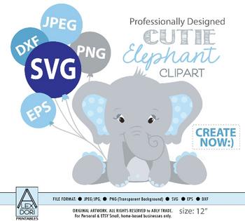 Boy Elephant SVG, vector clip art, baby elephant for boy baby shower, birthday, diaper cake. Blue Gray peanut with polka ears, comm use
