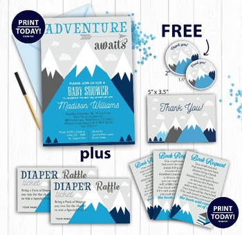 Blue Mountain baby shower, Adventure awaits, hunter boy baby shower, Navy Blue gray Invitation Template, thank you card, FREE Diaper Raffle,book