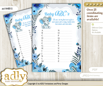 Elephant Boy Baby ABC's Game, guess Animals Printable Card for Baby Boy Shower DIY – Floral