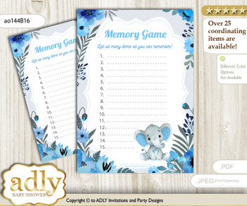 Elephant Boy Memory Game Card for Baby Shower, Printable Guess Card, Blue Gray, Floral